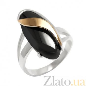 Серебряное кольцо с золотой вставкой и ониксом Кипарис BGS--111к