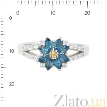 Серебряное кольцо с топазами, цитрином и фианитами Амина 3К846-0412