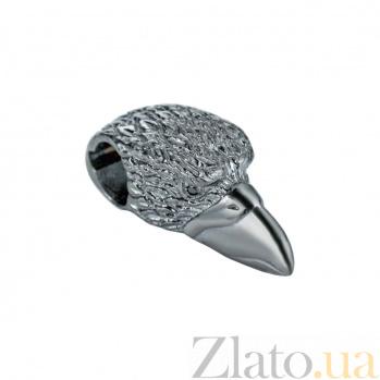 Серебряная родированная бусина Орел 000027027