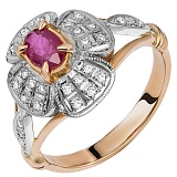 Золотое кольцо с рубином и бриллиантами Рубиновая свадьба