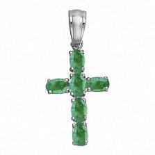 Серебряный крест Счастье с изумрудами