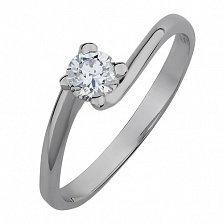 Кольцо из белого золота с кристаллом Swarovski Таинство любви