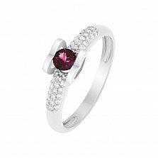 Кольцо в белом золоте Агния с рубином и бриллиантами