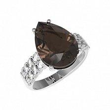 Серебряное кольцо Полина с раухтопазом и фианитами