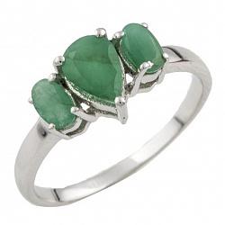 Серебряное кольцо Пальмира с изумрудами