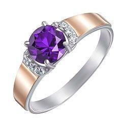 Серебряное кольцо с золотыми накладками, аметистом и фианитами 000141214