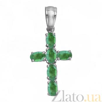 Серебряный крест Счастье с изумрудами 000008330