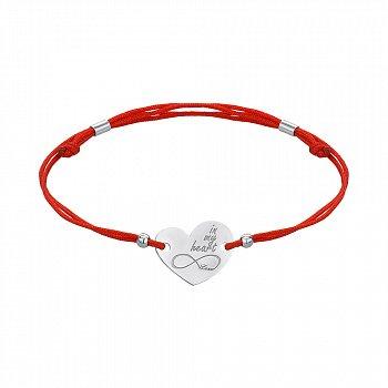 Браслет из серебра и красной шелковой нити In my heart 000145128