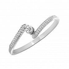 Кольцо из белого золота Ронда с бриллиантами