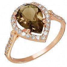 Золотое кольцо Виктория с раухтопазом и фианитами