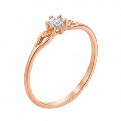 Золотое кольцо в комбинированном цвете с бриллиантом 000129704