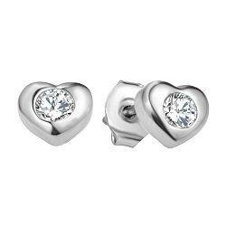 Серебряные пуссеты-сердечки с завальцованными фианитами 000106889