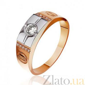 Золотая комбинированная печатка с бриллиантами Посланник EDM--КП7002