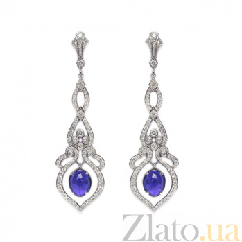 Золотые серьги с бриллиантами и танзанитами Song ZMX--EDTz-00216w