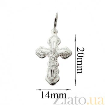 Крестик из серебра Благодать родированный 000007921