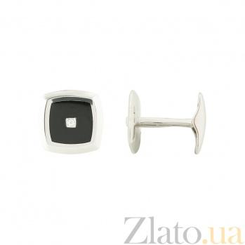 Золотые запонки с ониксом и бриллиантами Леонардо 1З037-0051