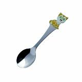 Серебряная ложка чайная детская Кот-часы с эмалью