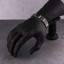 Серебряный браслет Франклин с черной эмалью