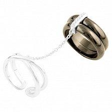 Серебряное кольцо на две фаланги Алфея с черной керамикой и фианитами