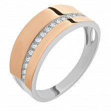 Серебряное кольцо Бриана с широкой шинкой, золотой накладкой и дорожкой фианитов