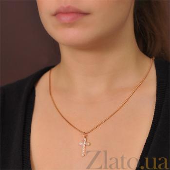Золотой крестик Аэлита в красном цвете с фианитами EDM--КР0132