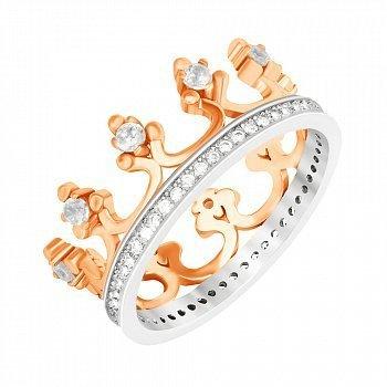 Срібна каблучка-корона з фіанітами та позолотою 000033975