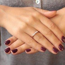 Золотое кольцо Марианна в красном цвете с фианитами