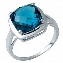 Серебряное кольцо Болейм с лондон топазом в шахматной огранке