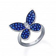 Серебряное кольцо Летний вечер с синей шпинелью и фианитами