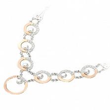 Серебряное колье Идиллия с золотом, жемчугом и фианитами