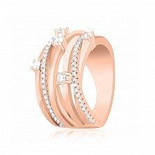 Серебряное кольцо Ливиана с фианитами и позолотой