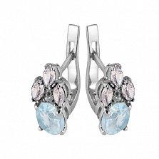 Серебряные серьги с голубым цирконием Ульяна