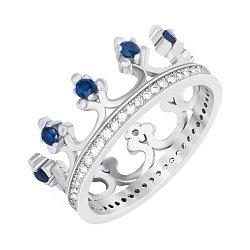 Серебряное кольцо-корона с синими и белыми фианитами с родированием 000042848