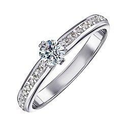 Золотое кольцо Полина в белом цвете с фианитами