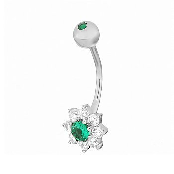 Срібна сережка для пірсингу Алсу з зеленим і білими фіанітами 000031033