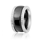 Серебряное разборное кольцо Trendy Choice из трех частей с черной керамикой и фианитами