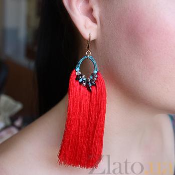 Серьги-кисточки из шелковых нитей с красным гранатом и кристаллами Swarovski 000024207