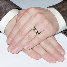Серебряное кольцо с золотом и фианитами Верность