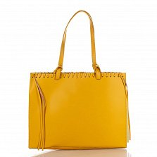 Кожаная сумка на каждый день Genuine Leather 8038 желтого цвета с удлиненными ручками