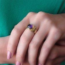 Золотое кольцо Механика с аметистом