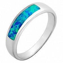 Серебряное кольцо Берлинская лазурь с синтезированным сине-зеленным опалом