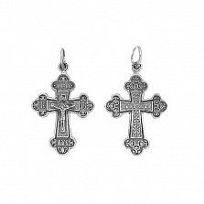Серебряный крестик Благостный с чернением