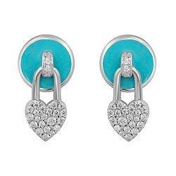 Серебряные серьги-пуссеты  с подвесками-сердечками, голубой эмалью и фианитами 000105931