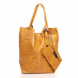 Кожаная сумка на каждый день Genuine Leather 5190 коньячного цвета на магнитной кнопке с косметичкой