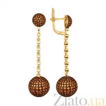 Серьги-подвески из желтого золота с цирконием коньячного цвета Бритни VLT--ТТ2303