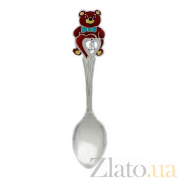 Серебряная чайная ложка Мишутка с сердцем 000039006