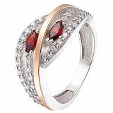 Серебряное кольцо с золотой вставкой Соблазн