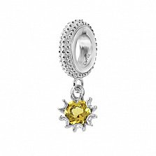 Серебряный шарм Солнышко с желтым фианитом