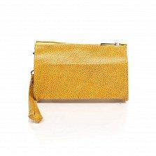 Кожаный клатч-саквояжик Genuine Leather 8057 желтого цвета с короткой ручкой на запятье