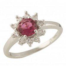 Серебряное кольцо Аморет с синтезированным рубином и фианитами